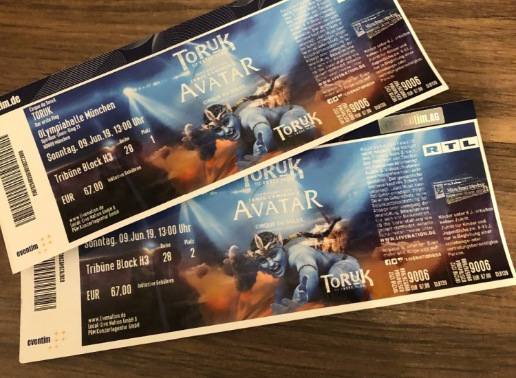2 Tickets to Avatar Cirque du Soleil