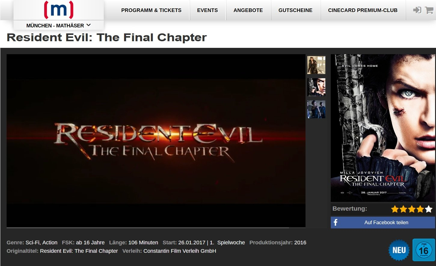 3D: OV - Resident Evil: The Final Chapter (English)-Meet-up